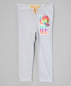 Gray 'Love' Lined Sweatpants - Toddler & Girls #zulily #zulilyfinds