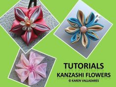 3 Kanzashi Flower Tutorial - PDF Hair Accesories Pattern - Fabric Flower Pattern (Also can be Made to Order). via Etsy.