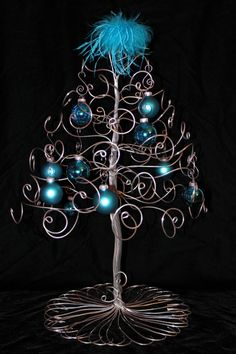 creative wire christmas tree with blue ornaments decoration