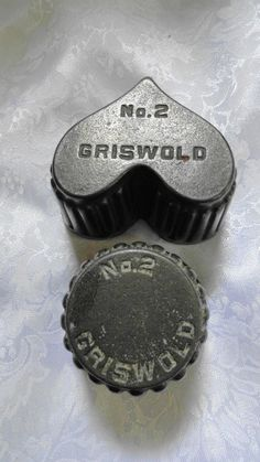 Cast Iron Griswold Mold Set of 2 Heart and Round Both #2