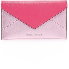 Marc Jacobs Bicolor Envelope Pouch (550 RON) ❤ liked on Polyvore featuring bags, handbags, clutches, leather purses, marc jacobs purse, marc jacobs pouch, leather handbags and genuine leather purse