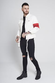 b305a1a6e7ed Distressed denim trucker jacket with red armband - off white