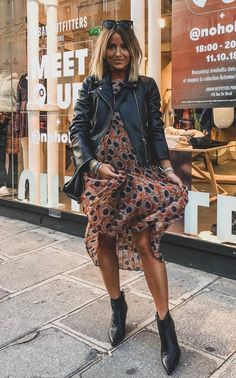 e365f49ceabcb trendy outfit idea to copy right now : leather jacket printed dress bag  boots Chic Outfits