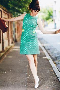 Mademoiselle YéYé - 60s Stacy Polkadot Dress in Mint