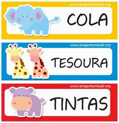 Etiquetas para identificação de material escolar - Safari Printable Labels, Printable Stickers, Background Powerpoint, Jolly Phonics, Kids Church, Classroom Decor, Cute Cartoon, Smurfs, Preschool