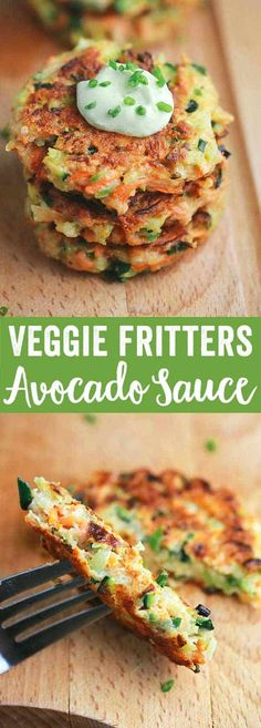 Crispy Vegetable Fritters with Avocado Yogurt Sauce - This recipe is packed with broccoli, carrots, and zucchini. Enjoy by dipping each appetizer bite into a delicious creamy sauce