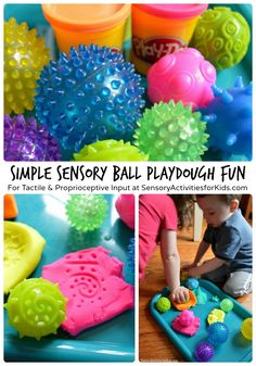 This Mom created a matching game where kids had to guess which sensory balls made imprints in play dough. We may have to borrow this idea...