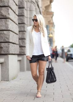 leather shorts - would never put this together myself but looks adorable
