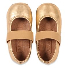 Bisgaard gold leather baby shoes