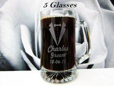 Set of 5 Personalized Groomsman Beer Mug // Bachelor Party