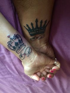 #Couples His and Hers #Tattoo #King and #Queen #Crowns with matching #Initials and #Infinity symbol