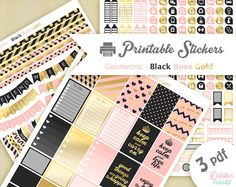 Printable stickers géometrique style noir doré rose  | 3 pdf | Téléchargement instantané | Planner, Happy planner