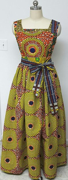 Multi African Print Fitted Waist Sleeveless Maxi Dress. Inside