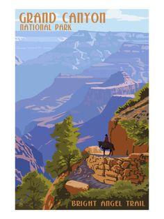 Grand Canyon National Park - Bright Angel Trail Art Print