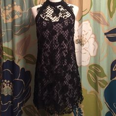 Free People lacy dress Beautiful dress with Lacy detail.  Adjustable straps. Fully lined. Free People Dresses Midi