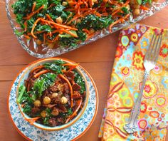 "Kale Salad with Tempeh bits ""Between the tempeh, the chickpeas, and the kale, you'll get more than 19 grams of protein in each bowl."""