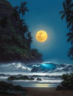"""Midnight Gold"" by Hawaii seascape artist, Roy Tabora."