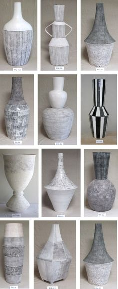 """Louise Gelderblom creates sculptural vessels handmade in Cape Town, South Africa, """"I only coil, because when I coil it feels like I am busy drawing in three dimensions. The shape of the piece and the surface markings on it create a rhythm, a percussion b Sgraffito, Ceramic Clay, Ceramic Vase, Ceramic Owl, Pottery Vase, Ceramic Pottery, Keramik Design, Coil Pots, 3d Studio"""