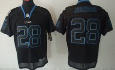 Nike Tennessee Titans #28 Chris Johnson Lights Out Black Elite Jersey
