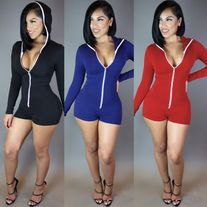 7f4e05e95b0b Newest Deep V neck jumpsuit women rompers fashion zipper stripe Nightclub short  rompers Casual bodycon party overalls