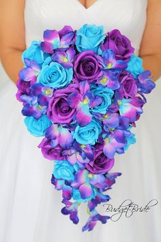 Mermaid David's Bridal Wedding Flower Bouquet with blue orchids, Malibue roses on . - Wedding Inspirasi Mermaid David's Bridal Wedding Flower Bouquet with blue orchids, Malibue roses on . Wedding Flower Guide, Purple Wedding Bouquets, Purple Wedding Flowers, Flower Bouquet Wedding, Diy Wedding, Trendy Wedding, Wedding Blue, Bridal Bouquets, Bouquet Flowers