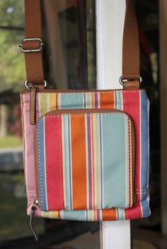 Fossil Multi Color Striped Canvas Cross Body Small Handbag #Fossil #MessengerCrossBody