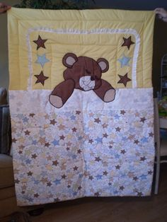 Sleeping Teddy Bear Quilt by ItzSewTime on Etsy.