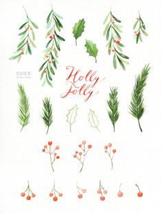 Holly Jolly Watercolor cliparts by everysunsun on @creativemarket