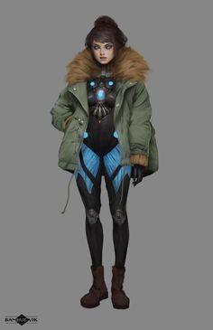Sci-Fi Girl, Banjiu E'vik on ArtStation at https://www.artstation.com/artwork/3zVqg