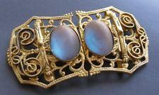Rare Antique Czechoslovakian Art Deco Saphiret Glass Metal Filigree Belt Buckle