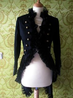 CUSTOM MADE Alexander Mcqueen inspired Lace ruffle trim tailcoat - military style jacket by Rabiosa on Etsy https://www.etsy.com/listing/114629061/custom-made-alexander-mcqueen-inspired