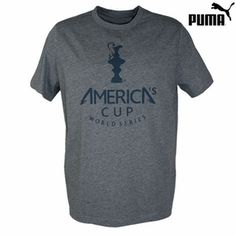 Official America's Cup Tshirt by @PUMA    Product Description  America's Cup Puma Men's Tee - Grey  Fabric: 100% cotton  Screen printed graphics by Puma  Crew-neck; short-sleeve styling  Machine washable  Officially licensed America's Cup product