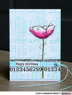 Birthday card by Anneke De Clerck using Darkroom Door Number Medley, Fine Flowers Vol 1 and Happy Birthday Stamp Sets Vintage Labels, Vintage Ephemera, Heart Stencil, Brick Wall Background, Large Stencils, Glitter Gel, This Is Us Quotes, Mail Art, Some Fun