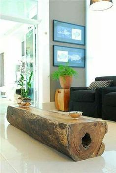 Log Coffee Table, I would love this :). Plus it would be more safe for the kids to climb on :).