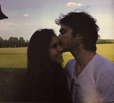 New/Old photo of Nina Dobrev and Ian Somerhalder on set of The Vampire Diaries // 2012 (c)