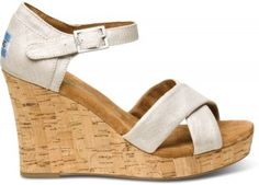Metallic Linen Women's Strappy Wedges | TOMS.com #toms