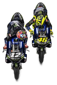 Monster Energy takes over as the new title sponsor of the Yamaha MotoGP squad, and that means new graphics to go with the team's new mentality. Motogp Teams, Motogp Race, Motogp Valentino Rossi, Valentino Rossi 46, Vinales, Bike Humor, Gp Moto, Yamaha Motorcycles, Marc Marquez