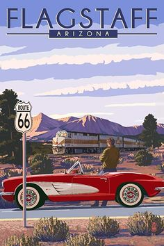 Grand Canyon Railway, Arizona - Route 66 - Corvette with Red Rocks (Art Prints, Wood & Metal Signs, Grand Canyon Railway, Route 66 Road Trip, Arizona Road Trip, Flagstaff Arizona, National Park Posters, Vintage Travel Posters, Vintage Ski, Stock Art, Travel Usa