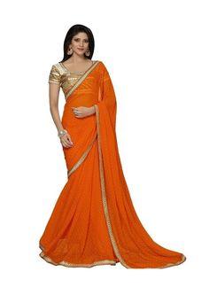 Beautiful orange colour plain saree