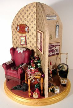 3 Sided Christmas Display dollhouse miniature