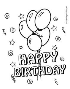 line drawings happy birthday coloring pages for kids fresh in - Happy Birthday Card Printable Coloring Pages