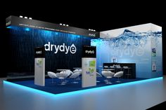 Incredible use of texture and graphics for this #blue water theme #booth. ISPO Trade Show