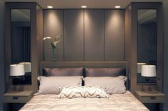 bed head designs pictures attached to wall - Google Search