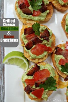 Grilled cheese guacamole and bacon bruschetta from RecipeGirl