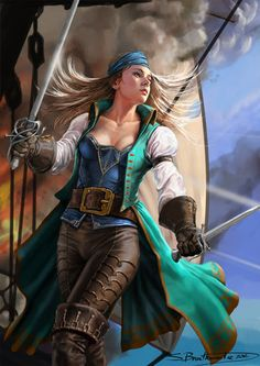 The digital fantasy and science fiction themed illustrations of Shane Braithwaite, a freelance digital artist and illustrator based in Australia Pirate Art, Pirate Woman, Pirate Life, Lady Pirate, Pirate Queen, Fantasy Women, Fantasy Girl, Character Portraits, Character Art