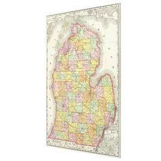 Vintage Map of Michigan (1897) Canvas Print