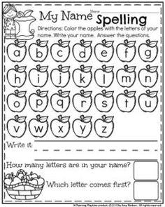 Fall Preschool Worksheets - Apple Name Spelling.                                                                                                                                                                                 More