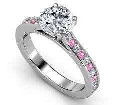 Engagement Ring - Diamond Engagement Ring Pink Sapphires & Diamonds band in White Gold - ES22BRPD