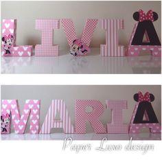 Letras 3D Minnie Rosa | Paper Luxo Design | Elo7