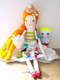 Hand crafted linen doll folk art display dolls by JessQuinnSmallArt